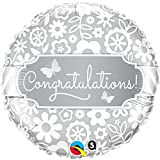 Folienballon * CONGRATULATIONS! * für die Hochzeit // Folien Ballon Deko Ballongas Geburtstag Hochzeitstag Valentinstag Eltern Gratulation gratulieren silber Glückwünsche Geschenk