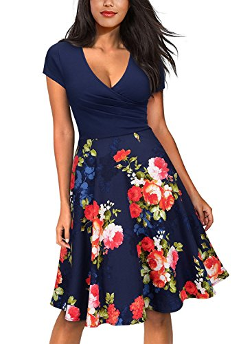 Miusol Women's Vintage Off Shoulder Floral Lace Cocktail Party Dress (Small, F-Blue&Red)