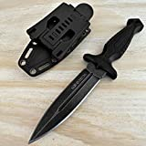 Hunting Knife Tactical Knife Survival Knife 9' Fixed Blade Knife w/ Molle Compatible Pressure Retention Sheath Camping Accessories Survival Kit Survival Gear Tactical Gear 79897 (Black Stonewash)