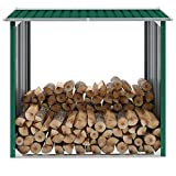 Tidyard Caseta de jardín para leña Acero galvanizado Verde 172x91x154cm