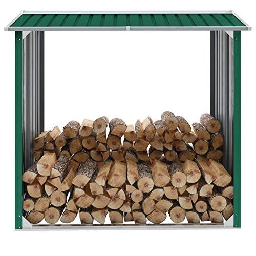 N/O Viel Spaß beim Einkaufen mit Brennholzlager Verzinkter Stahl 172x91x154 cm Grün