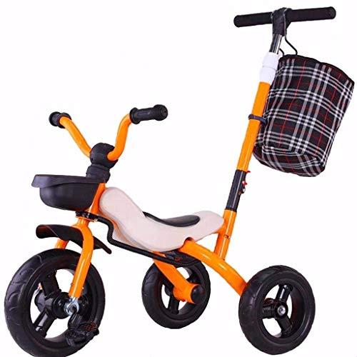 YGB Triciclo de bebé, Bicicleta Infantil, Cochecito para niños de 1 a 6 años, para Exteriores, Todo Terreno, Triciclo Dibujado a Mano, 3 Colores, Triciclo para niños (Color: Naranja)