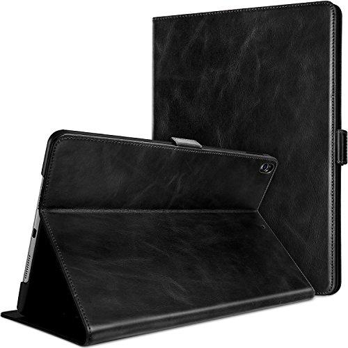 ProHülle Echtes Leder Hülle für iPad Air (3rd Gen) 10.5 2019 /iPad Pro 10.5 2017, Kickstand Klapphülle Lederhülle -Schwarz
