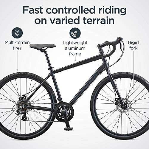 Schwinn Sporterra Adventure Adult Gravel Bike, 14 Speeds, 700c Wheels, Light Weight Aluminum Frame, Black