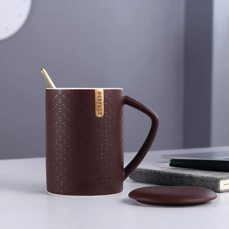 Tasse à eau grande capacité en céramique avec couvercle cuillère tasse à café maison à l'avoine @ Bcourir foncé