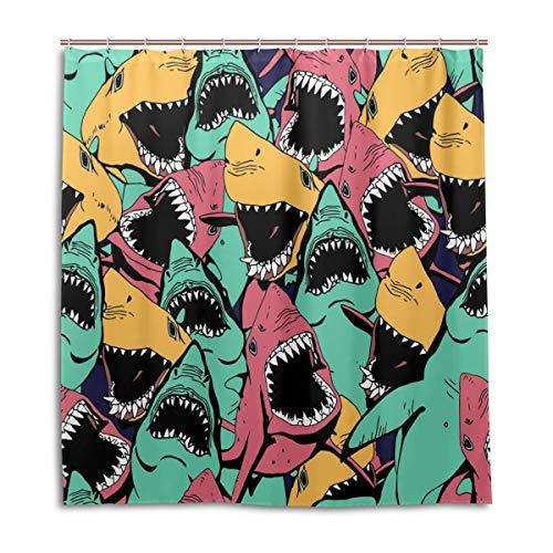 BIGJOKE Duschvorhang, Ocean Shark Art, schimmelresistent, wasserdicht, Polyester, 12 Haken, 167,6 x 182,9 cm, Heimdekoration