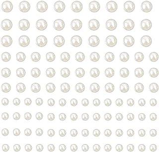 Jixista Perline Decorative Autoadesive Bianche Adesive Piccole Tonde Perline Bianche in Resina con Retro Piatto Indietro C...