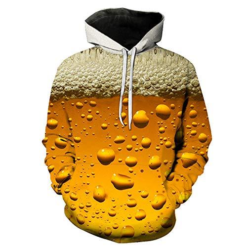 BEIXUNDIANZI Sweethearts Outfit Mens Lustige 3D Hoodies Mit Kapuze Frauen Sweatshirts Digital Realistisch Ich Bin in der Zeit Trinken Bier Modekleidung J-Yellow S