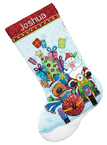 Dimensions Counted Cross Stitch 'Santa's Sidecar' Personalized Christmas Stocking Kit, 14 Count Light Blue Aida, 16'