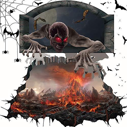 WYB Adesivos de terror para Halloween, fantasmas vulcânicos 3D, atmosfera sombria, pupilas vermelhas realistas são assustadoras, material de PVC à prova d'água, fácil de colar e limpar
