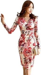 neveraway Women's V Neck Slim-Fit Stretch Long-Sleeve Formal Painting Dresses
