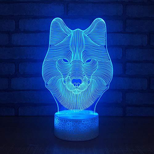 Wangzhongjie Acryli Wlof Head Led 3D Luz Nocturna 7 Colores Cambio Usb Lámpara De Mesa Táctil Niños Dormitorio Al Lado De Decoración Lámpara Niños Regalo De Navidad
