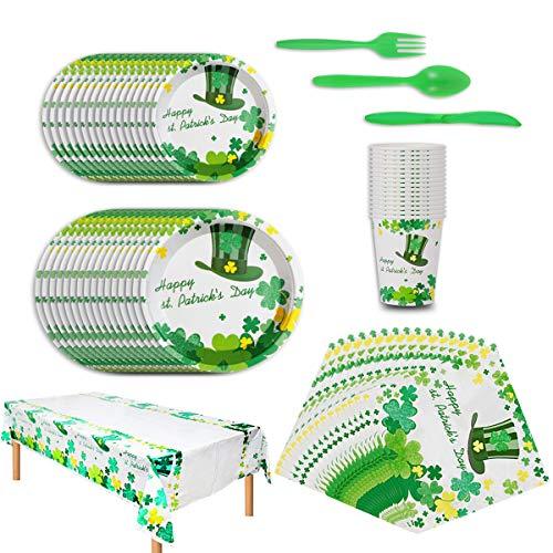 St Patrick's Day Ensemble de Vaisselle Jetable Party Supplies Green Shamrock Assiettes à Dessert Jetables Ensemble de Vaisselle Pour 16 Personnes