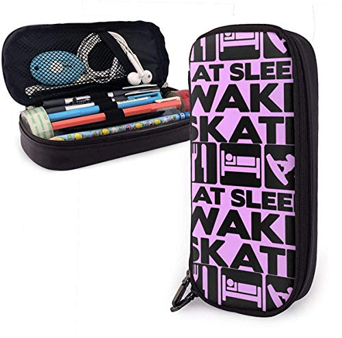 New Style Eat Sleep Wakeskate Multifunktions-Leinwand Leder Bleistiftetui Stifttasche Make-up-Tasche