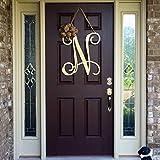 WoodSign MarthaFox Metal Initial Door Wreath w/Ribbon, Front Door Wreaths, Monogram Door Hanger, Monogrammed Wreath, Front Door Letters, Outdoor Wreath, Decor Unfinished Wood