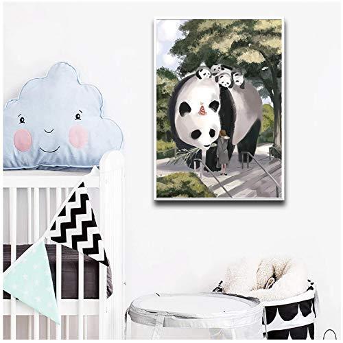 cuadros decoracion salon Carteles e impresiones artísticos de pared con retrato de panda chino abstracto para decoración de habitación de niños Póster Decoración del hogar 23.6x31.5in (60x80cm) x1pcs