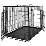 FEANDREA Jaula para Perros, Jaula para Mascotas con 2 Puertas, 92,5 x 57,5 x 64 cm, Negro PPD36BK