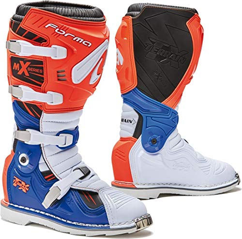 Forma Terrain TX - Botas de Moto, con homologación CE, Naranjas/Blancas/Azules