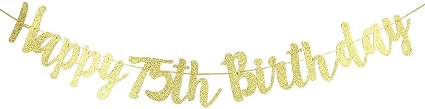 Karoo Jan Happy 75th Birthday Banner Gold Glitter Letters Wonderful75th Birthday Party Decorations Supplies