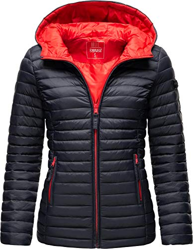 Marikoo Damen Übergangsjacke Stepp-Jacke leicht mit Kapuze Asraa Navy Gr. XXL