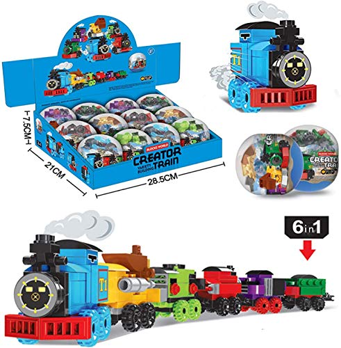 party supplies train toys Toys Train Sets for Kids 12 PCS Building Blocks Easter Eggs Basket Fillers Fift for Boys Girls Model Train Track Birthday Gift | Party Favors | Party Supplies for Ages 6 7 8 9 10 11 12 Years Old