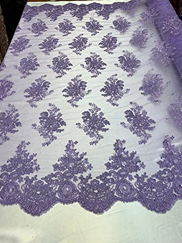 Lavender Design Shop Prom Bridal Design Transparent Fabric Mesh lace Embroidered Wedding Decoration Night Gowns tablecloths by The Yard