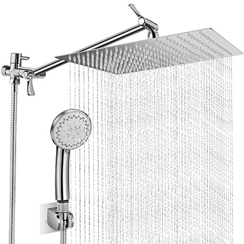 12 Inch Rain Shower Head with Handheld Spray, Anti Leak Dual Square Waterfall Shower Heads with Adjustable 13.5'' Extension Arm, Bathroom High Pressure Hand-held Showerhead with Hose and Holder