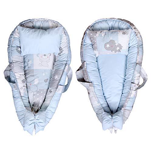 Cutelions Tumbona de doble cara con almohada ajustable para recién nacido, 100% popelín de algodón, suave y transpirable, ideal para cuna portátil (azul estrella)