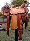 Deen, Enterprises, Wade Tree A Fork Premium Western Leather Roping Ranch Work Horse Saddle, Size 14' to 18' inch Seat Available (16.5' Inches Seat)