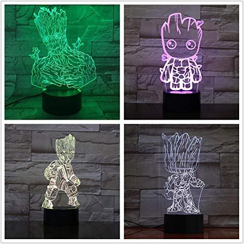 USB Superhero Comics Movie Superhero Movie Super Hero Tree Man Large Figure Multi Neon 3D LED Night Light Table Lamp Bedside Decoration Kids Gift