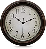 Yesland Wall Clock - 12-1/2 Inch - Retro Silent Non-Ticking Classic Clock, Decorative Round Wall Clock for Living Room Kitchen Home Office