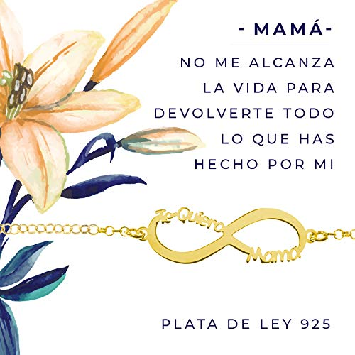 Pulsera infinito Te Quiero Mamá dorada de Plata de Ley 925 presentada en tarjeta con mensaje para regalar