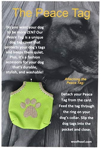 Woofhoof Dog Tag Cover - Lime Pawprint