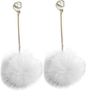 1 Pair Lovely Long Drop Earrings Women Fluffy Ball Dangle Ear Rings Simple Pearl Soft Ear Studs