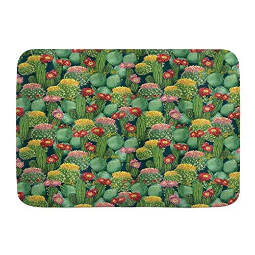 AoLismini Badematte Teppich, Natur Garten Blumen Kaktus Wüste Botanical Verschiedene Pflanzen mit Ikes, rutschfeste saugfähige Ultra weiche Badezimmer Dr. Mats