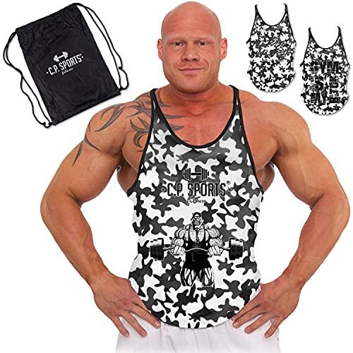 C.P. Sports 3 Stringer Tank Tops en bolsa de deporte – Camiseta muscular, para culturismo, levantamiento de...