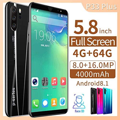 Knoijijuo - Smartphone 4G de 5,8 pulgadas, cámara de 8 megapíxeles, 4000 mAh, Android 8.1 Quad Core 4 GB + 64 GB Dual SIM ID Face Unlock
