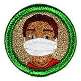 Face Mask Novelty Merit Badge- 1.5' Embroidered Patch with Adhesive Backing