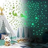Vinilo fluorescente, adhesivo de arte de pared fluorescente con temática de unicornio, 296 adhesivo luminoso de cielo estrellado, calcomanía de vinilo decorativa extraíble con estrellas brillantes,...
