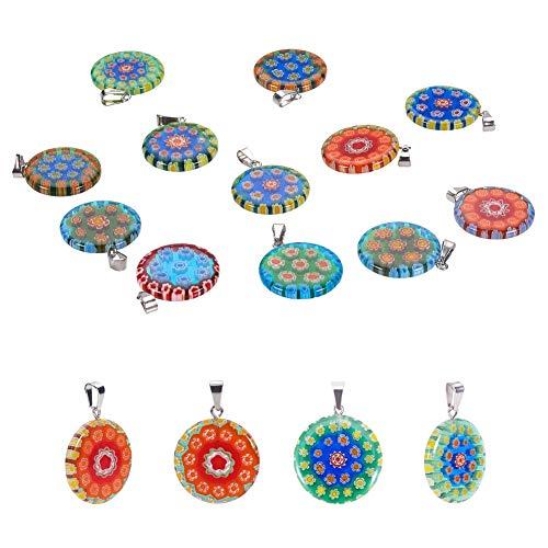 PandaHall Elite, 20 colgantes Millefiori con diseño de flores y lámparas de cristal, colgantes redondos planos, abalorios para pendientes, colgantes, para hacer joyas