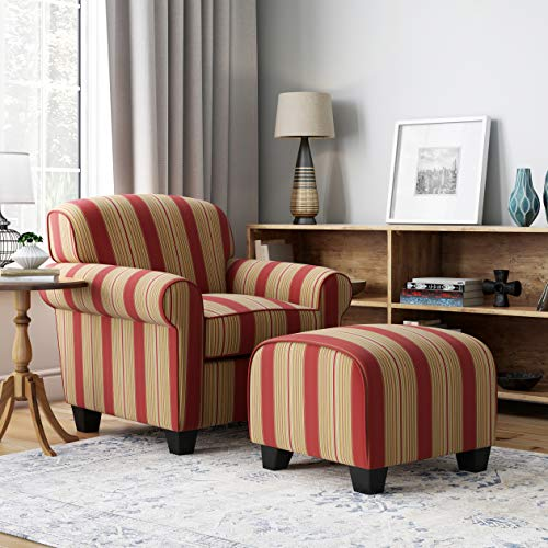 Domesis Winnetka Cotton Living Room Accent Chair with Ottoman Set, Crimson Red Stripe