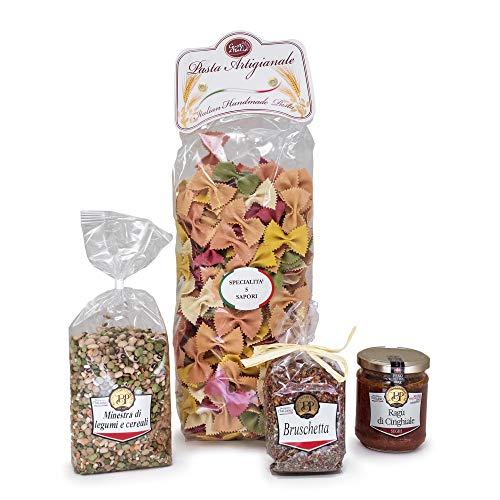 Pacco gourmet Toscana. Prodotti tipici italiani dalla regione Toscana. Fusilli ai 5 sapori. Sugo di cinghiale. Minestrone di legumi e cereali. Preparato per bruschetta.