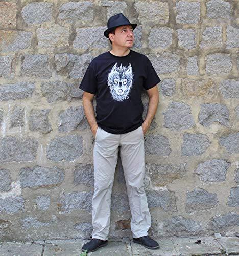 GEMALTES WOLF-T-SHIRT, Wolf-Malerei, weißes Wolf-Schwarz-T-Shirt, Wolf-Entwurf, amerikanisches KleiderT-Shirt, Tierliebhaber-T-Stück, Wolf-T-Stück, Größe XL.