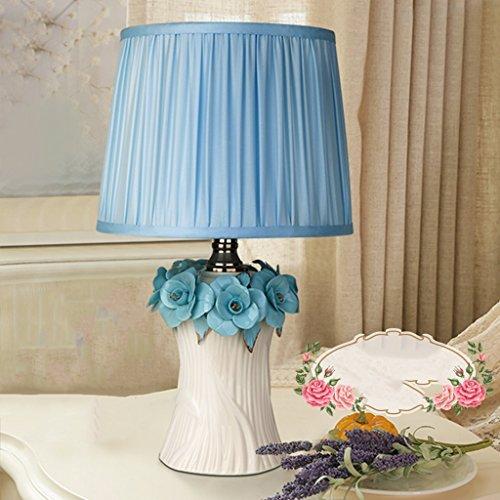 Bonne chose lampe de table Lampe de table en céramique Chambre à coucher Lampe de chevet Maison de mariage Cadeau Pastoral Lampe de table Lampe de table ( Couleur : Bleu )
