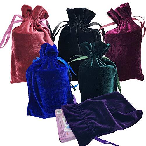 "GIFTEXPRESS Velvet Tarot Rune Bag Bundle of 6: Moss Green, Royal Blue, Purple, Wine, Ross, Black 6"" x 9"""