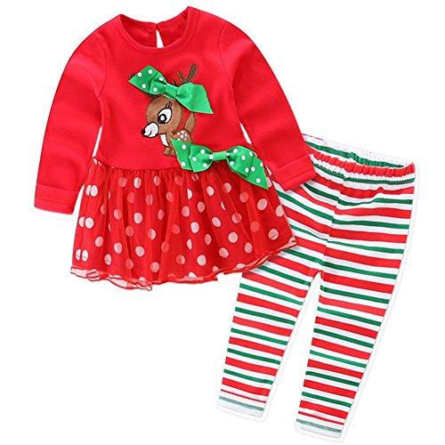 TOOGOO(R) La maglietta della neonata di Natale ha regolato la maglietta + i pantaloni dell'increspatura Rosso + Verde Cervo, 90 metri