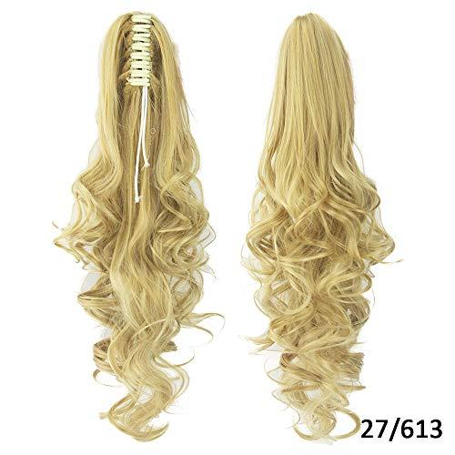 Perruque Clip Droit Sur Les Extensions De Postiche Blonde Clips Pony Tail Synthetic Hair Claw Ombre Ponytail Hair Pieces Pour Femmes-27613_24 Pouces
