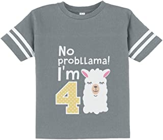 Gift for 4 Year Old Girl No Probllama 4th Birthday Toddler Jersey T-Shirt