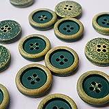 Generisch 12 bottoni in legno nero vintage nero in legno naturale effetto invecchiato, 4 fori di colore nero, diametro 2 cm (verde scuro)