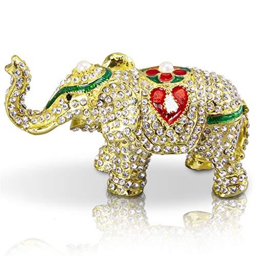 Rhinestone sieraden olifant handgemaakte metalen kleine sieraden doos dier pop sieraden display ring box familie bruiloft decoratie